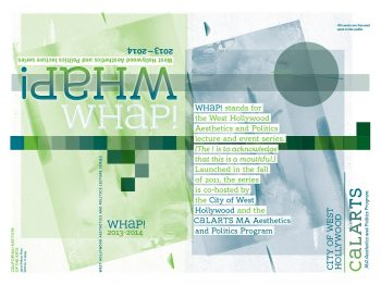 Poster for 2013–14 Whap! Lecture series, designed by Joe Prichard, Office of Public Affairs, CalArts