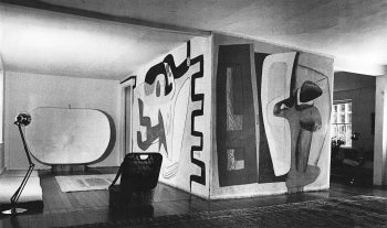 The Nivola house living room, showing Le Corbusier's mural