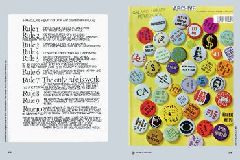 """Earthquakes, Mudslides, Fires & Riots: California and Graphic Design, 1936–1986 (EMFR), showing Sister Corita Kent's """"rules"""" and CA magazine, 1967"""