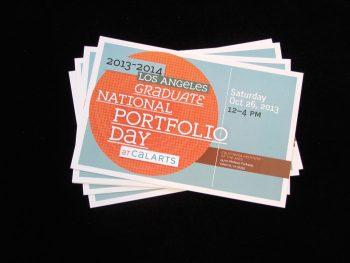 National Portfolio Day flyer designed by Joe Prichard, Office of Public Affairs, CalArts