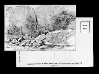 Postcard of Indian petroglyphs, Sproat Lake, British Columbia, date unknown
