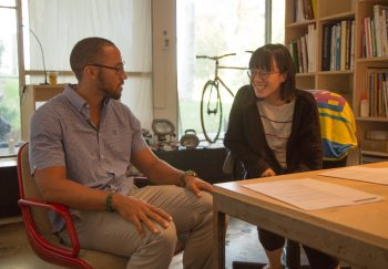 Visiting designer Silas Munro with MFA 2 student Jessica Kao