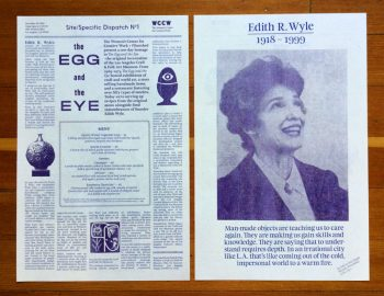 Kate Johnston, The Egg and the Eye Broadsheet, WCCW Site Specific Dispatch #1 from Craft and Folk Art Museum. 2014