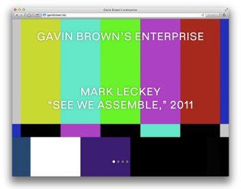 Website for Gavin Brown's Enterprise art gallery