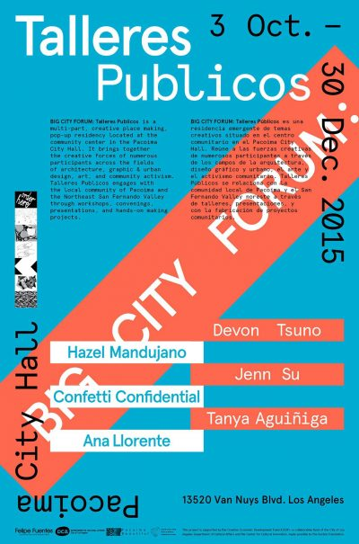 A blue and orange poster promoting Talleres Publicos launch party on October 3
