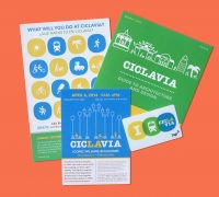 image of CicLAvia marketing material on an orange background