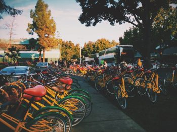 Rows of bicycles on Google's campus