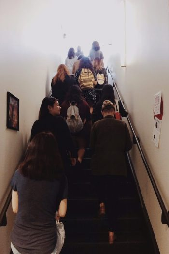 The class heading upstairs
