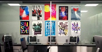Anette Lenz posters on display in the Mac Lab