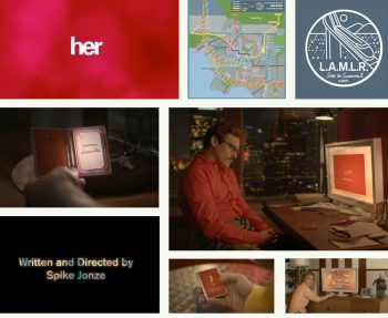 Visual elements for the film Her including the drawings on the walls of Theodore Twombly's office, map of Los Angeles' future transit system, the main titles / credits and the interfaces of all computers, devices & handhelds.