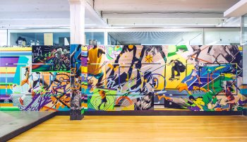 Completed Just Do It mural on display at the Wieden + Kennedy Offices in Portland, OR.