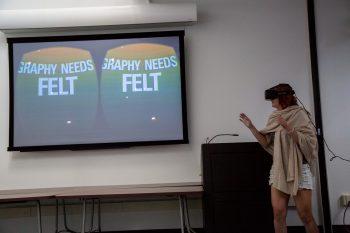 MFA student Sara Bierstecker acts as human guinea pig Jessica Lee's Type Wonderland