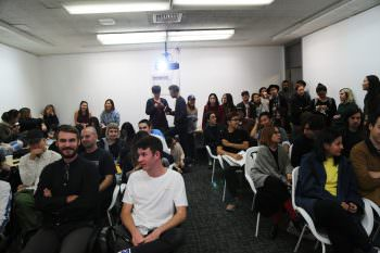 David draws a large crowd of MFA and BFA students to his lecture.