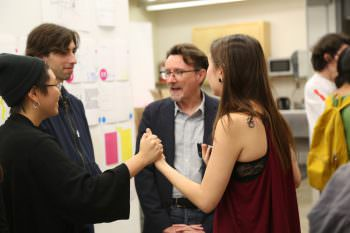 Mr. Keedy and BFAs discuss typography at David's reception.