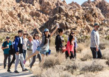 MFA Students and facultyhike and explore Indian Cove