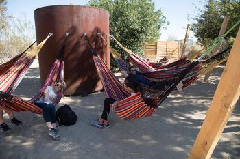 Relaxing in the shade at the Integratron