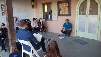 MFA students listen intently during Ken Ehlich's workshop
