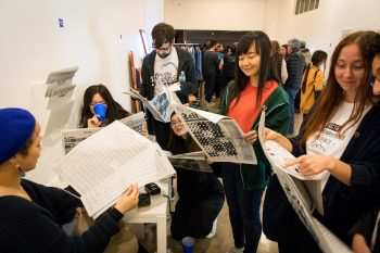 Visitors reading Guanyan Wu's publication