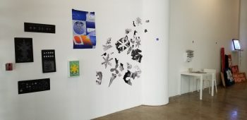 Installation image featuring work from Jacob Shpall and Guanyan Wu