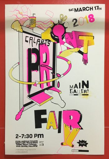 Screenprinted print fair announcement poster