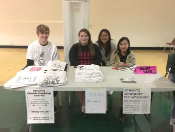 BFA1 Graphic Design Students Ethan Ostling, Chandler Sutton, Sarah Lee, and Tiana Li  sell t-shirts and drawings