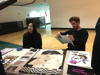 GD MFA students Christina Huang and Jacob Shpall sell collaborative print projects