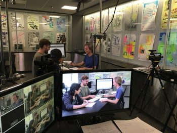 Roman Jaster, Bradley Krebs, and Alyson Yee behind the scenes of the course creation.