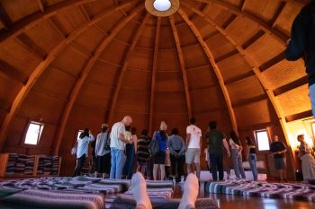 The inside of the dome before our sound bath experience (featuring Colin's feet). Photo by Colin Frazer.