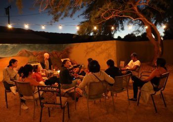 As the sun set on the first evening in the desert, a get-together formed in the guest house backyard. Photo by Yingyi Zhu.