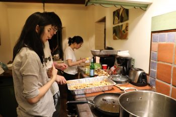 Meanwhile, Xuanyi Lin, Shibo Chen, and Fanyi Yu were part of the team in the kitchen that did all of the work for dinner (thanks again). Photo by Yingyi Zhu.