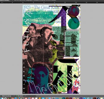 "Screenshot of ""Futeisha"" (work in progress) for the ""Celebrate People's History"" poster project by Interference Archive."