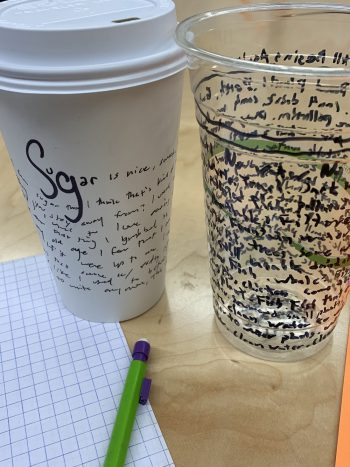 Two of the workshop's results – writing on cups