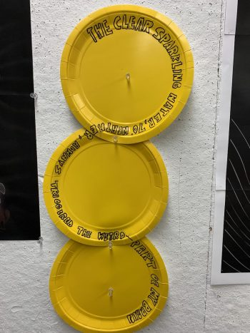 Writing on paper plates in circular fashion